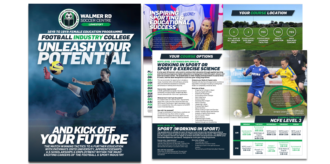 Football Industry College Lowestoft Female Programme. Brochure